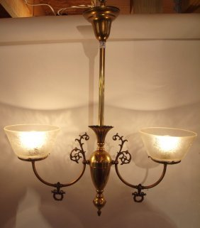Brass 2 Light Hanging Lamp With Etched Glass Shades
