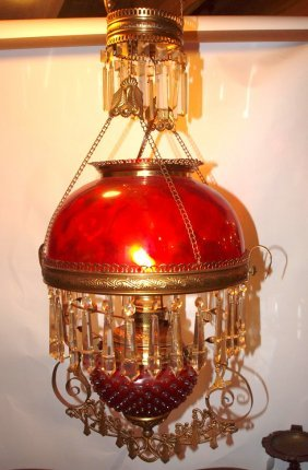 Cranberry Kitchen Pull Down Hanging Lamp With Cranberry
