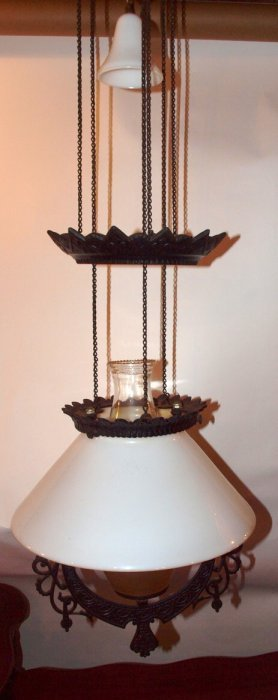 Iron Kitchen Pull Down Hanging Lamp With Milk Glass
