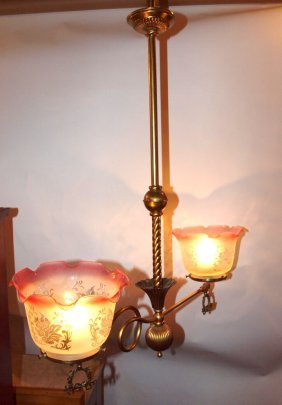 Brass 2 Light Hanging Lamp With Frosted Shades With
