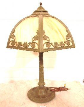 "Panel Glass Table Lamp, 14 1/2"" Shade"