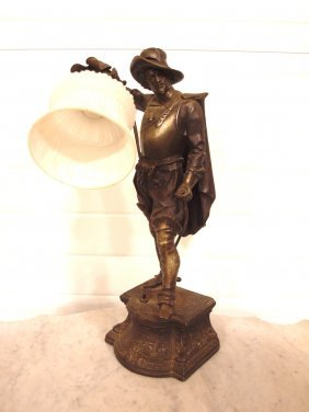 Figural Lamp Of Man With Sword, 19""