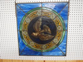 Leaded Stained Glass Window With Painted Dove In