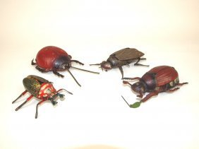 Lot of 4 tin lithograph bug windup toys: S. Gunthermann