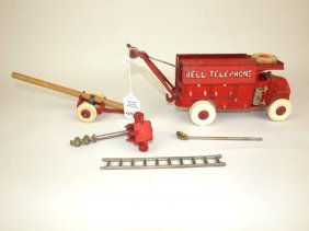 Hubley Cast Iron Bell Telephone Truck & Accessories