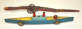 "Folk Art Wood Tin Wind Up Snake, 13 1/2"" And Tin Ship"