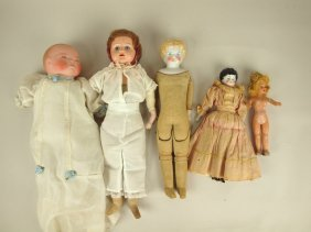 Lot Of 5 Dolls: Grace Putnam Bye Lo, Tin Head Doll,