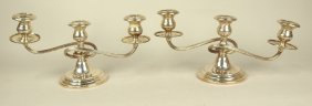 Gorham Sterling Silver Pair Of 3 Lite Candle Holders