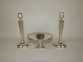 Sterling Silver Pair Of Candle Sticks & Compote