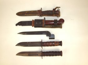 Lot Of 5 Bayonets And Military Knifes