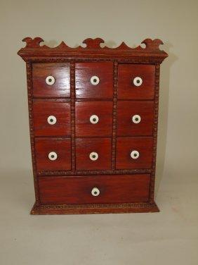 Early Oak 10 Drawer Wall Spice Cabinet