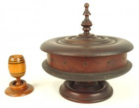 Early Wooden Treenware Sewing Box And Cup With Rings