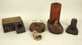 Lot Of 5 Primitive Mouse & Rat Traps: 3 Wood, 1 The