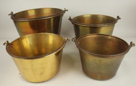 Set Of 4 Brass Graduated Buckets, All Signed, One Dated