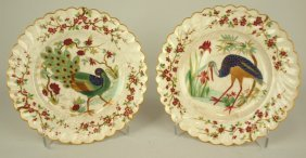 Pair Of Early Chinese Export Bird Plates, 8 1/4""