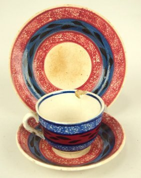 """Stick Spatterware Cup/saucer And 6 1/2"""" Plate, Cjip To"""