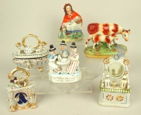 Staffordshire Lot Of 6 Items: Red Riding Hood Figure,