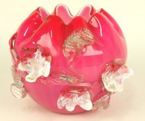 Stevens & Williams Cranberry Cased Art Glass Rose Bowl,
