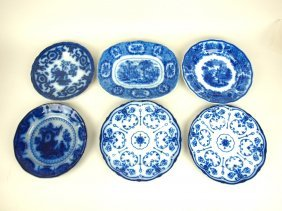 Flow Blue Fish Lot Of 5 Plates And One Platter: Plates