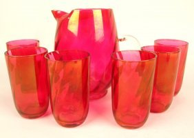 Cranberry Glass 7 Piece Juice Set (one Tumbler Ahipped)