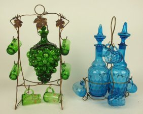 Lot Of 2 Early Blown Glass Wine Sets With Wire