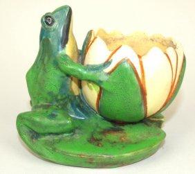 "Weller Coppertone Frog & Lotus Bowl, 3 3/4"""