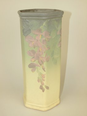 Weller Art Pottery Octagon Vase With Floral Decor 11""