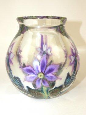 David Lotton Multi Layer Cased Flora Art Glass Vase,