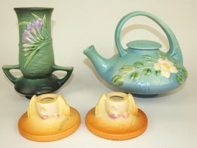 """Roseville Lot Of 4 Pieces: Freesia Green Vase 119-7"""","""