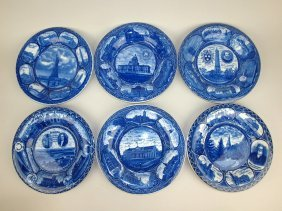 Blue And White Staffordshire Lot Of 6 Rowland &