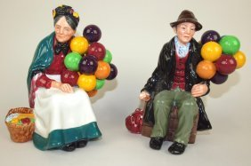 "Royal Doulton Lot Of 2 Figures: ""the Old Balloon"