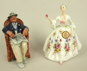 "Royal Doulton Lot Of 2 Figures: ""taking Things Easy"","