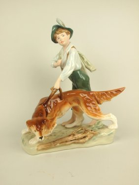 Royal Dux Figure Of Boy With Dog, 14""