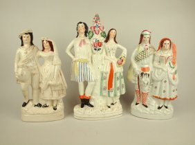 """Staffordshire Lot Of 3 Couple Figures, 14"""" To 16"""