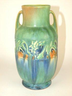 """Roseville Baneda Green Vase, 9 1/2"""""""