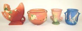 "Roseville Lot Of 4 Pieces: Pink Snowberry Vase 1fh-6"","