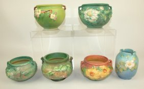 Roseville Lot Of 6 Pieces: Green Apple Blossom
