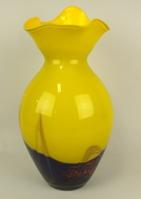 Large Yellow Art Glass Vase, 17""