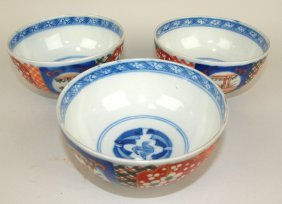 "Imari Lot Of 3-5"" Bowls, Hairline To One"