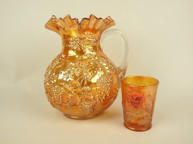 Fenton Grape Variant Marigold Carnival Glass Pitcher,