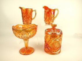 Carnival Glass Lot Of 2 Pitchers, Compote, And Covered