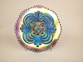 """Imperial Purple Carnival Glass Scroll Embossed 9"""" Plate"""