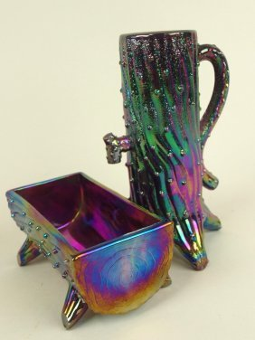 Amethyst Carnival Glass Town Pump And Trough