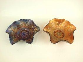 Fenton Captive Rose Carnival Glass Bowls: 1 Cobalt, 1