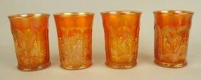 Northwood Marigold Carnival Glass Set Of 4 Singing Bird