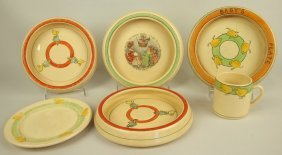 Roseville Lot Of 6 Juvenile Pieces: 4 Bowls, Plate,