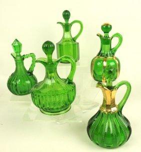 Emerald Green Lot Of 5 Cruets