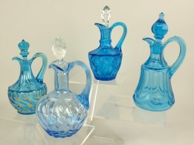 Lot Of 4 Blue Glass Cruets, One With Broken Stopper