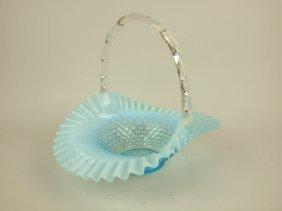 Fenton Blue Opalescent Hobnail Glass Basket, 10""