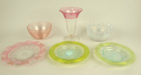Threaded Glass Lot Of 6 Pieces: Vase, 2 Bowls, & 3